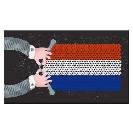 hand made: Hecho a mano la bandera de Holanda. Ilustraci�n del vector.