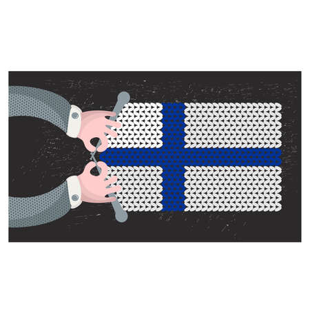 Hand made flag of Finland. Vector illustration. Vector