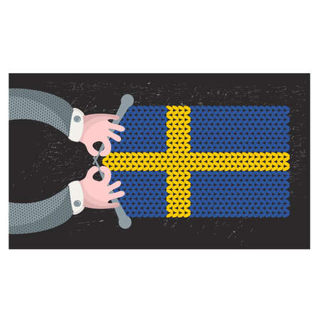 Hand made flag of Sweden. Vector illustration. Vector