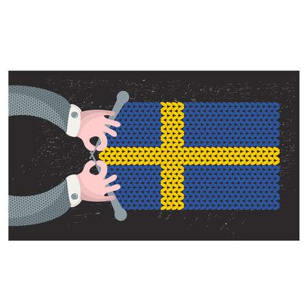Hand made flag of Sweden. Vector illustration.