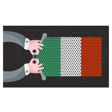 hand made: Hecho a mano la bandera de Italia. Ilustraci�n del vector.