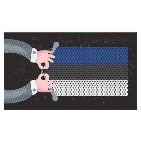 hand made: Hecho a mano la bandera de Estonia. Ilustraci�n del vector. Vectores