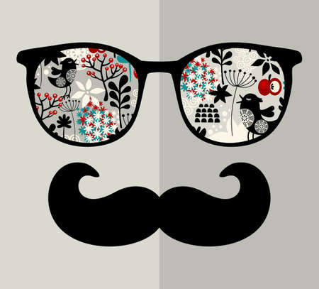 Retro sunglasses with reflection for hipster. Vector illustration of accessory - glasses isolated. Vector