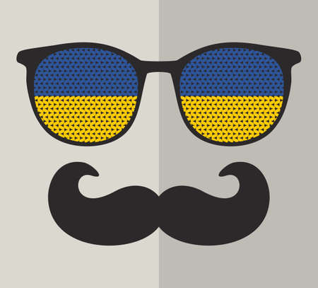 sunglasses reflection: Retro sunglasses with reflection for hipster. Vector illustration of accessory - glasses isolated.
