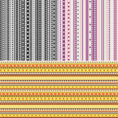 Set of three ribbon seamless patterns. Vector background in retro style. Vector