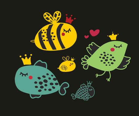 abeja reina: Conjunto de animales lindos. Ilustración vectorial de flor de la historieta.