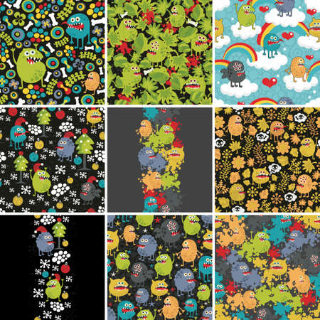 Big set of patterns and illustrations with cute little monsters. Vector. Vector