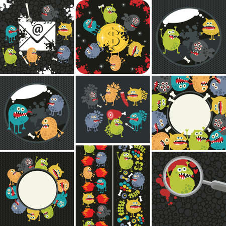 microbiology: Big set of  illustrations with cute  monsters.