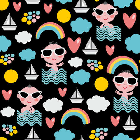 Baby boy on vacation seamless pattern. Vector texture of happy summer time. Vector