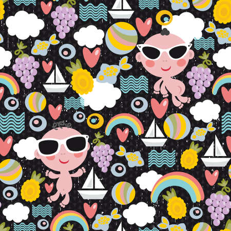 Cool little boys on vacation seamless pattern. Vector texture. Vector