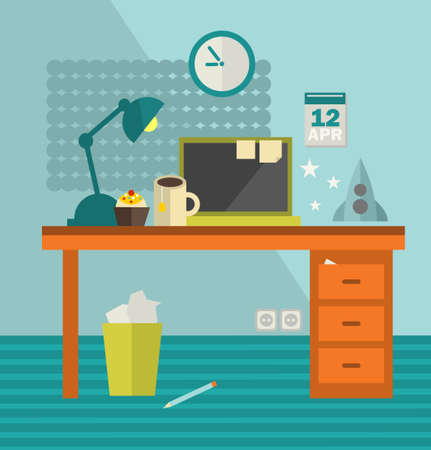 Workplace with modern computer on retro table and coll spaceship. Vector illustration. Vector
