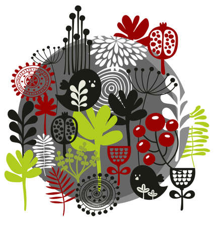 Birds, flowers and other nature. Vector illustration. Vector