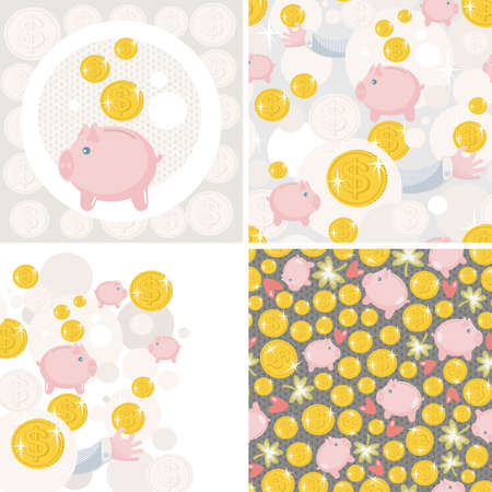 retirement savings: Set of four illustrations with saving pig. Vector pattern. Illustration