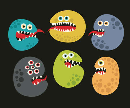 Set of cute virus monsters. Vector illustration. Stock Vector - 27843427