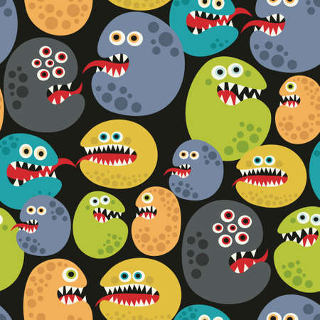 parasites: Seamless pattern with colorful virus monsters. Vector background. Illustration