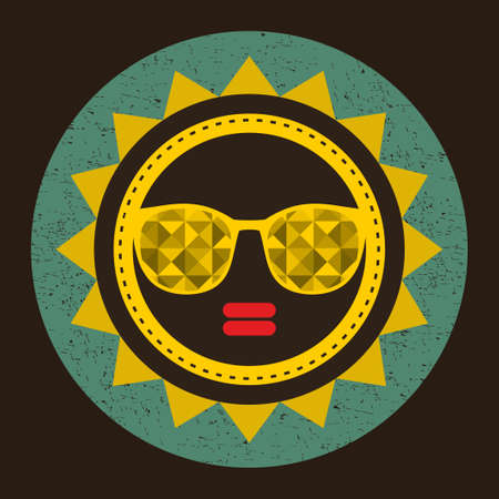 Golden sun with woman face in retro style. Vector illustration with glasses. Vector
