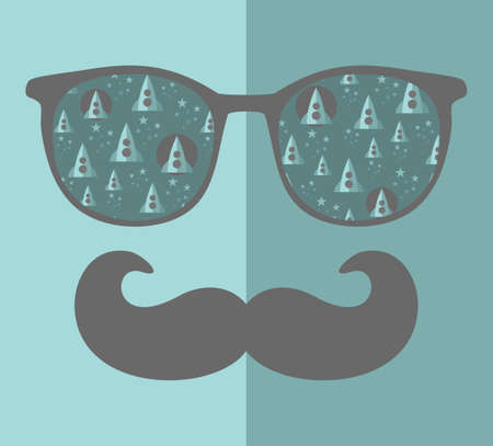 night vision: Retro sunglasses with reflection for hipster. Vector illustration of accessory - glasses isolated. Best print for your t-shirt. Illustration