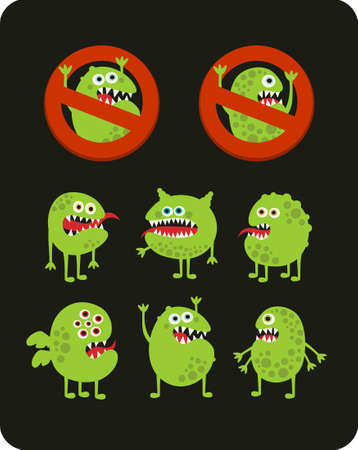Set of cute green microbes. Vector illustration. Vector