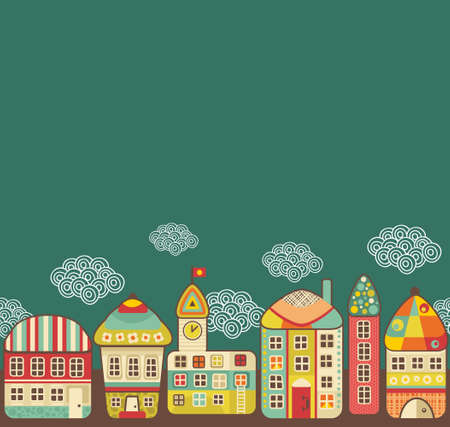 Cute houses seamless pattern. Vector cartoon town and clouds in the sky. Vector
