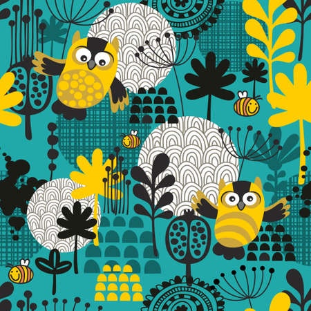 backdrop design: Seamless background with owls. Vector nature pattern.