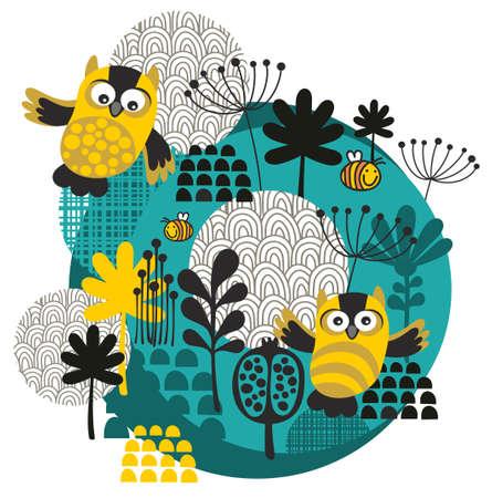 Uilen, bijen, bloemen en andere natuur op de bal. Vector illustratie. Stock Illustratie