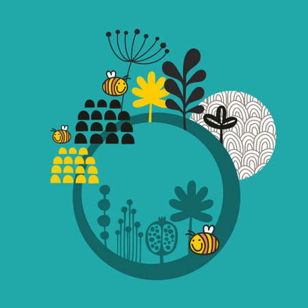 Round banner with spring nature. Vector illustration. Vector