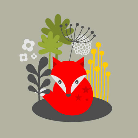 Vintage fox and flowers print. Vector illustration. Vector