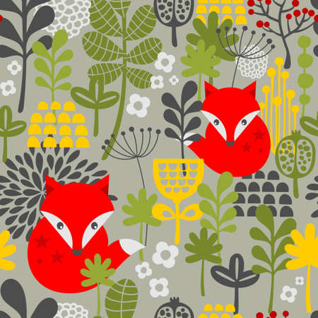 interior decoration: Seamless vintage fox and flowers pattern. Vector illustration.