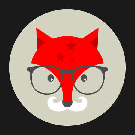 white moustache: Hipster emblem with fox in glasses. Vector illustration for cool print. Illustration
