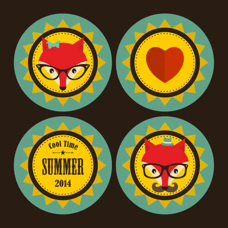 Set of sunny labels with hipster fox and heart. Vector illustration in retro style. Vector