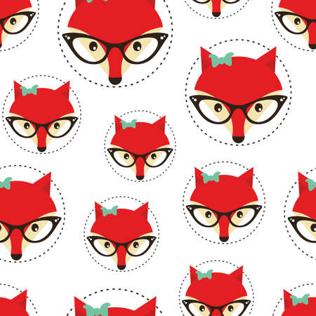 women glasses: Hipster seamless pattern with red lady fox. Vector background.