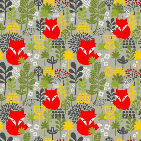 Naadloze achtergrond met schattige kleine vos in het bos. Vector bloemmotief in retro stijl. Stock Illustratie
