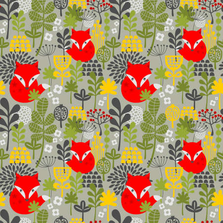 Seamless background with cute little fox in the forest. Vector floral pattern in retro style. Vettoriali