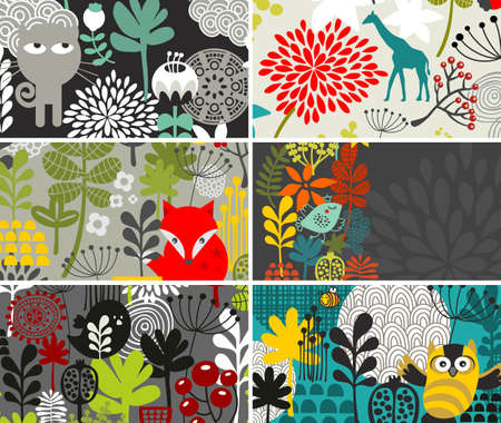 flora fauna: Set of horizontal cards with birds and other animals. Vector illustration.