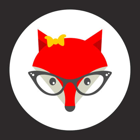 sly: Hipster fox label. Vector illustration for cool print.