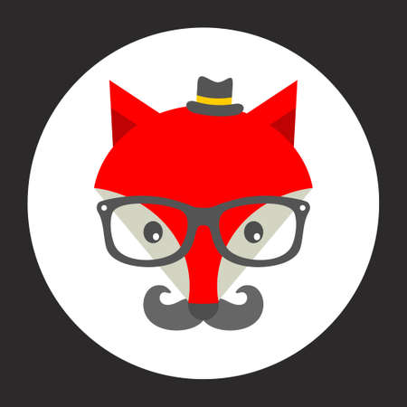 sly: Hipster fox label. Vector illustration for the cool print.