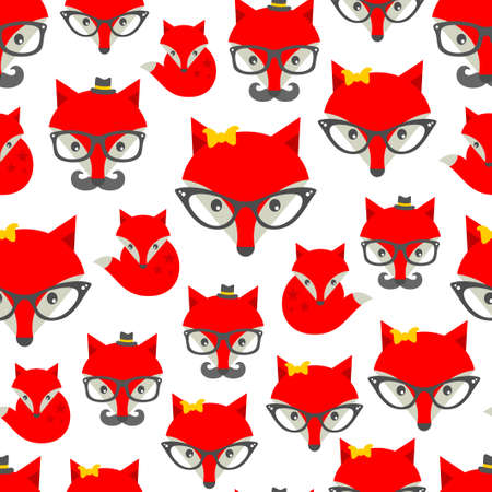 Seamless pattern with hipster fox. Vector background with cute animals in retro style. Vector