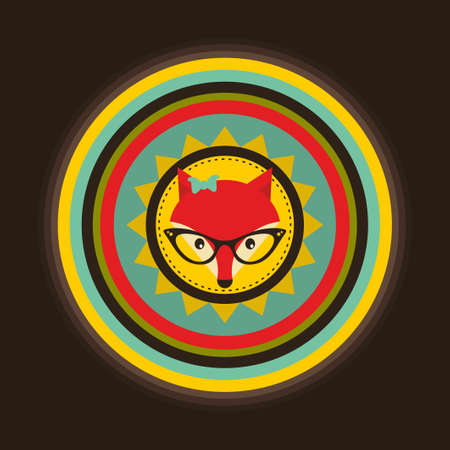 sly: Hipster emblem with lady fox. Vector illustration for cool print.