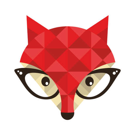 Hipster emblem with fox. Vector illustration for cool print. Çizim