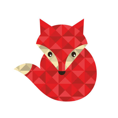 Little red fox made of triangles. Vector illustration for cool print. 矢量图像