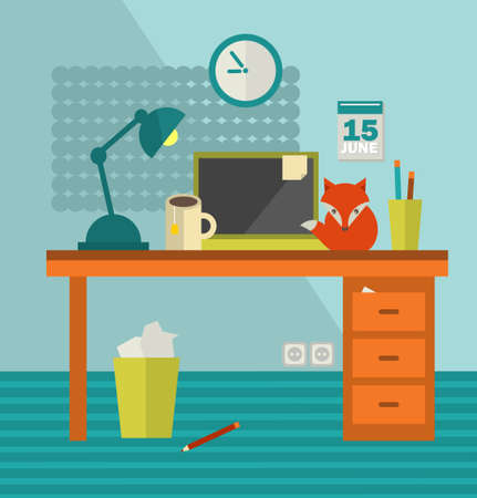 Workplace with notebook and cute red fox near. Vector illustration of the room space and lovely pet. Illustration
