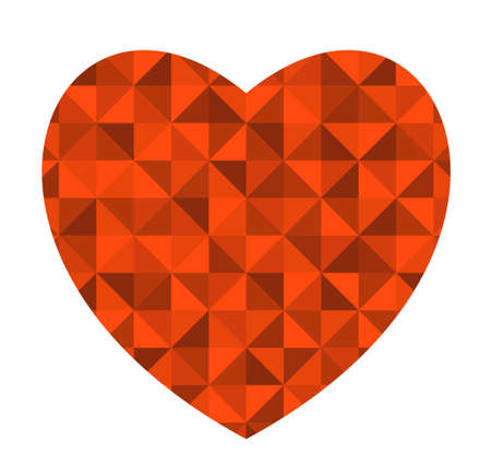 Retro red heart. Vector background with triangles. Illustration