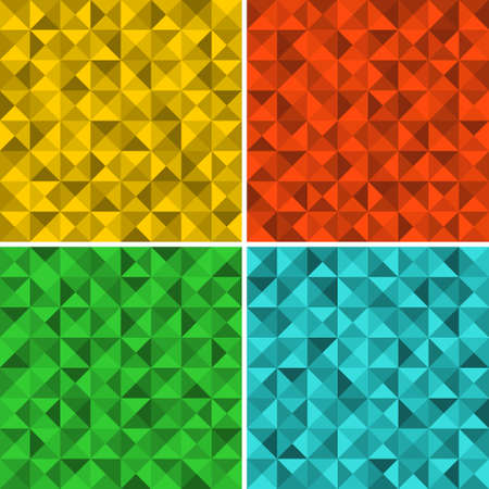 Set of seamless patterns with triangles. Vector repeated background. Vector