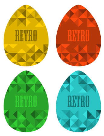egg cartoon: Set of retro eggs made of triangles. Vector illustration for the Easter. Illustration