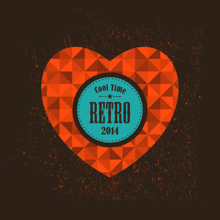 Retro heart with round banner for your message. Vector background with triangles.