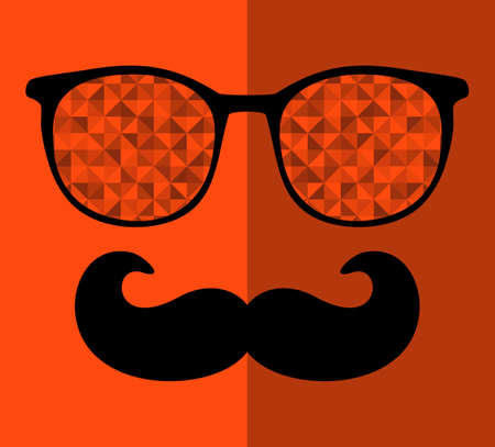 mustaches: Retro sunglasses with reflection for hipster. Vector illustration of accessory - glasses isolated. Best print for your t-shirt. Illustration