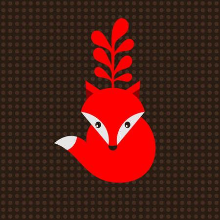 Piccola volpe rossa con albero sulla testa. Illustrazione di vettore con i puntini sullo sfondo. Archivio Fotografico - 27886509