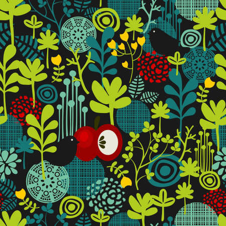 Birds and flowers seamless pattern. Vector texture. Vector