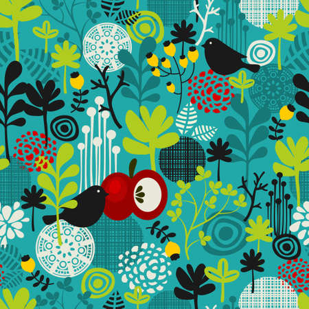 Birds and flowers seamless pattern. Vector texture.