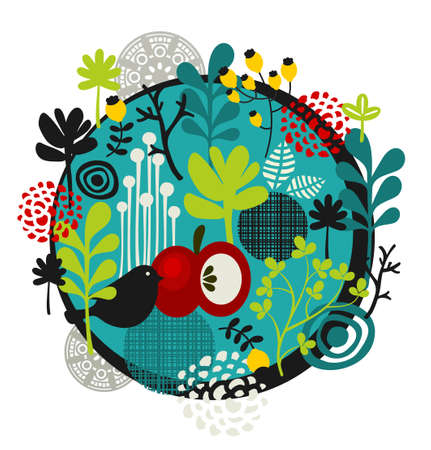Flower ball with cute little bird. Vector illustration. Vector
